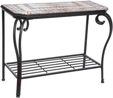 Alfresco Home Compass Wrought Iron Mosaic 40 x 19.50 Sideboard Console Table