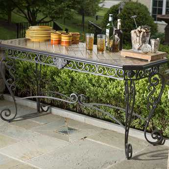 Alfresco Home Basilica Wrought Iron 64 x 25 Rectangular Sideboard Console with Mosaic Table Top