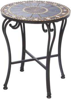 Alfresco Home Galileo Wrought Iron 20 Round Marble Mosaic Side Table