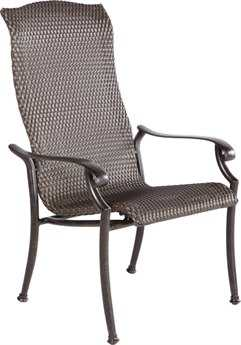 Alfresco Home Barbados Cast Aluminum Wicker High Back Stackable Dining Chair - Set of 2