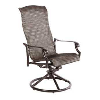 Alfresco Home Barbados Cast Aluminum Wicker High Back Swivel Dining Chair - Set of 2