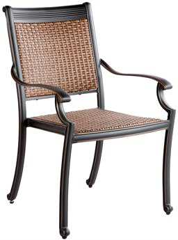 Alfresco Home Pilot Cast Aluminum Wicker Stackable Dining Arm Chair - Set of 2