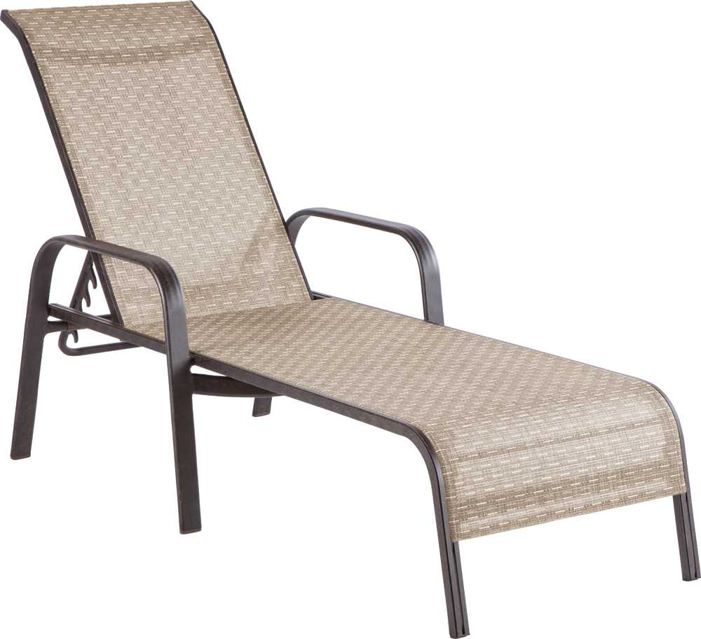 Alfresco home charter cast aluminum stackable sling chaise for Aluminum strap chaise lounge