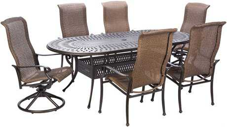 Alfresco Home Naples Cast Aluminum Wicker 6 PC Dining Height Set