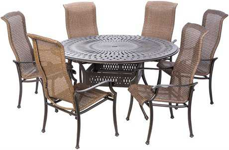 Alfresco Home Naples Cast Aluminum Wicker 7 PC Dining Height Set