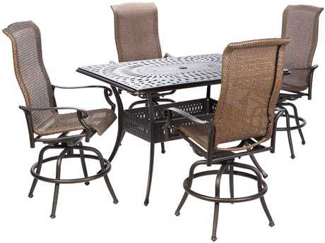 Alfresco Home Naples Cast Aluminum Wicker 7 PC Gathering Height Dining Set