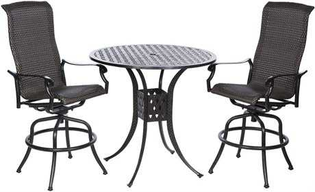 Alfresco Home Barbados Cast Aluminum Wicker Bar Height Set