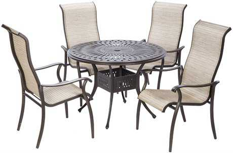 Alfresco Home Charter Sling Cast Aluminum Dining Set