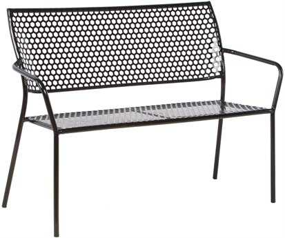Alfresco Home Martini  Wrought Iron Garden Bench in Black Patent