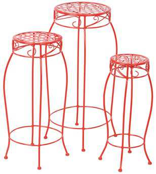 Alfresco Home Martini Steel Plant Stands Cherry Pie - Set of 3