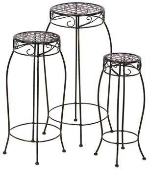 Alfresco Home Martini Steel Plant Stands Black Patent - Set of 3