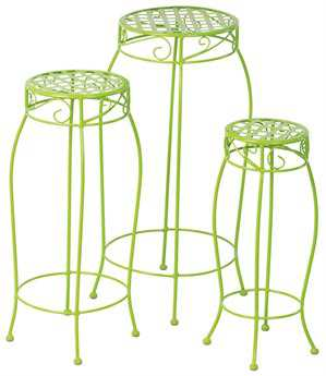 Alfresco Home Martini Steel Plant Stands Key Lime - Set of 3