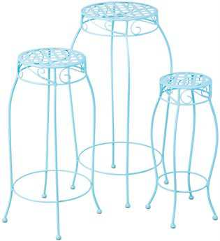 Alfresco Home Martini Wrought Iron Round Plant Stands