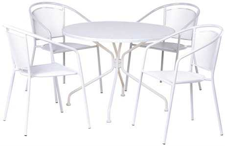 Alfresco Home Martini Wrought Iron Cafe Dining Set in Bianca