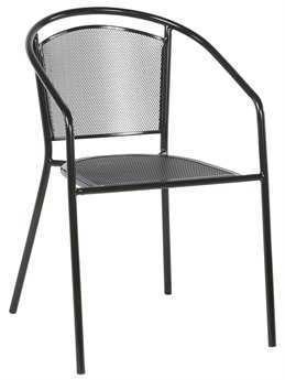 Alfresco Home Martini Steek Cafe Stackable Dining Chair Black Patent - Set of 4