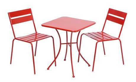 Alfresco Home Riposo Steel Dining Bistro Set in Cherry Red