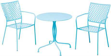 Alfresco Home Martini Wrought Iron 3 Piece Bistro Set - Sky Blue
