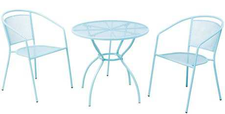 Alfresco Home Martini 3 Piece Bistro Set in Sky Blue