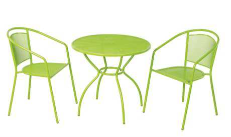 Alfresco Home Martini Wrought Iron Bistro Dining Set - Keylime Green
