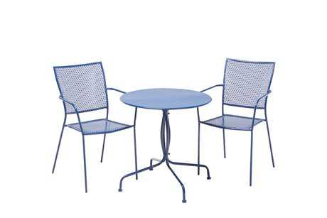 Alfresco Home Martini Wrought Iron 3 Piece Bistro Set in Etta Blue
