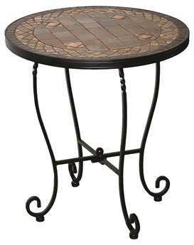 Alfresco Home Dublin Wrought Iron Mosaic 20 Round Side Table