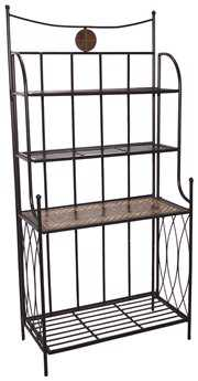 Alfresco Home Dublin Wrought Iron Mosaic Outdoor Bakers Rack