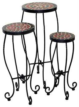 Alfresco Home Stellarton Wrought Iron Round Ceramic Plant Stands with powder coated base. Set of 3