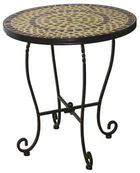 Alfresco Home Shannon Wrought Iron Mosaic 20 Round Side Table
