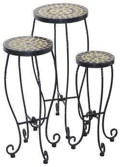 Alfresco Home Shannon Wrought Iron Round Ceramic Plant Stands with powdercoated base. Set of 3