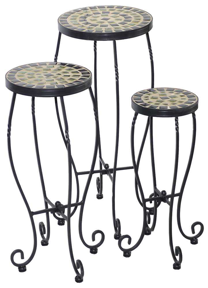 alfresco home shannon wrought iron round ceramic plant stands with powdercoated base set of 3. Black Bedroom Furniture Sets. Home Design Ideas