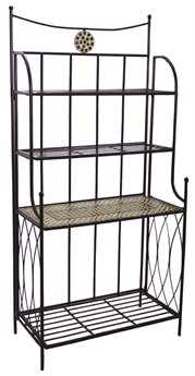 Alfresco Home Shannon Wrought Iron Mosaic Outdoor Bakers Rack