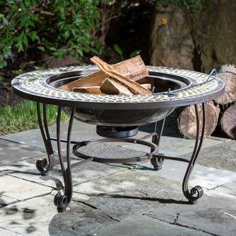 Alfresco Home Shannon Wroung Iron 33.5 Round Wood Burning Fire Pit with Decorative Surround