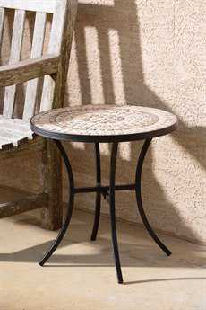 Alfresco Home Boracay Wrought Iron 20 Round Ceramic Mosaic Outdoor Side Table