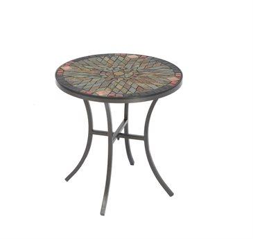 Alfresco Home Sagrada Wrought Iron 20 Round Ceramic Mosaic Outdoor Side Table