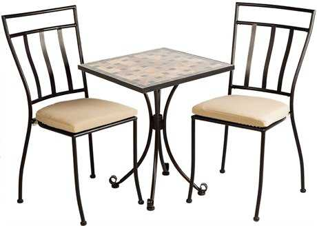Alfresco Home Recco Wrought Iron 24 Square Ceramic 3 Piece Bistro Set