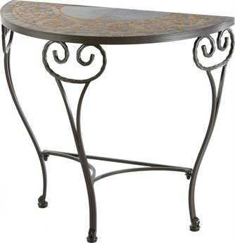 Alfresco Home Vulcano Wrought Iron Round Ceramic Plant Stands with powdercoated base Set of 3