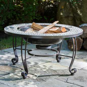 Alfresco Home Vulcano Steel 34 Round Wood Burning Fire Pit with Decorative Surround