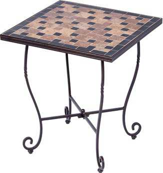 Alfresco Home Recco Wrought Iron 20 Square Mosaic Side Table
