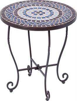 Alfresco Home Tremiti Wrought Iron Mosaic 20 Round Side Table