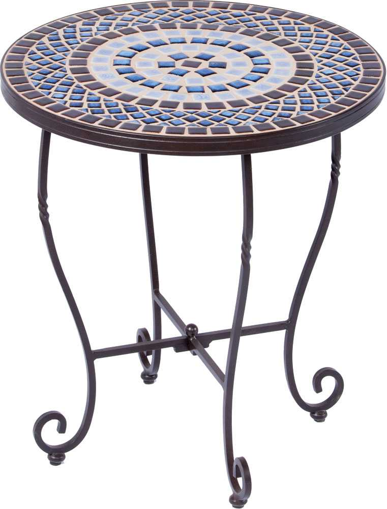 Alfresco home tremiti wrought iron mosaic 20 round side for Outdoor patio side tables