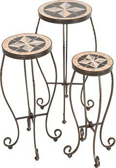 Alfresco Home Formia Ceramic Round Plant Stands with powdercoated base Set of 3