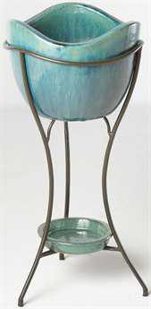 Alfresco Home Garden Olas Ceramic Elevated Planter & Beverage Cooler - Azul