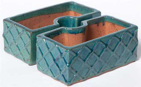 Alfresco Home Garden Trellis Ceramic Square Umbrella Planter - Atlantis Blue