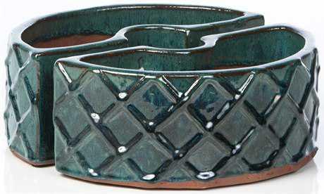 Alfresco Home Garden Ceramic Trellis Round Umbrella Planter
