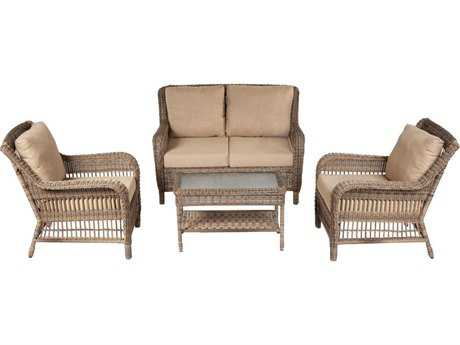 Alfresco Home Cotswold Wicker Cushion Conversation Set - Seats 4