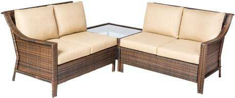 Alfresco Home Logan All Weather Wicker Deep Seating Sectional Set with cushions