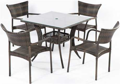 Alfresco Home Tutto Cast Aluminum Wicker 5 Piece Dining Set