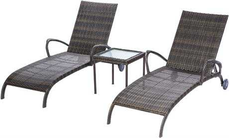 Alfresco Home Tutto Wicker 3 Piece Lounge Set