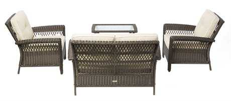 Alfresco Home Isabella All Weather Wicker 4 Piece Deep Seating Set
