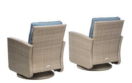 Alfresco Home Siesta Deep Seating Aluminum All Weather Wicker Swivel Rockers Set of 2